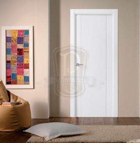 Puerta moderna lacada puertas y ventanas pe aranda for Puertas paso blancas