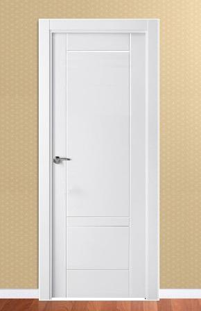 Puerta moderna lacada puertas y ventanas pe aranda for Oferta puertas blancas interior