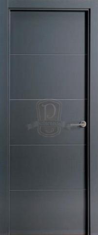 Puerta lacada en gris oscuro 9004 puertas y ventanas for Puerta interior gris